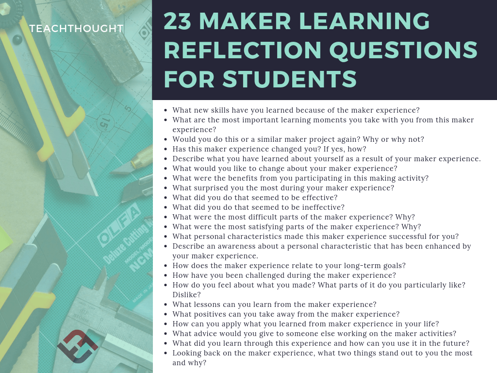 23 Maker Learning Reflection Questions For Thoughtful Students